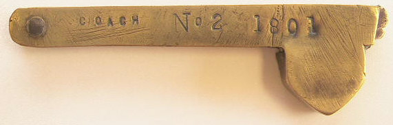 Brass fleam marked Coach no.2 1801 and Proctor on the case and an unusual stamp on the blade.  This was probably used for horses on a coach of fire-team.