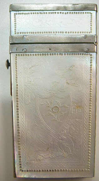 Ornately engraved Mother of Pearl lancet case from China.  Silver mounts and pins hold the panels in place.  No lancets are present in the case.  A beautiful set is present on Laurie Slaters site.