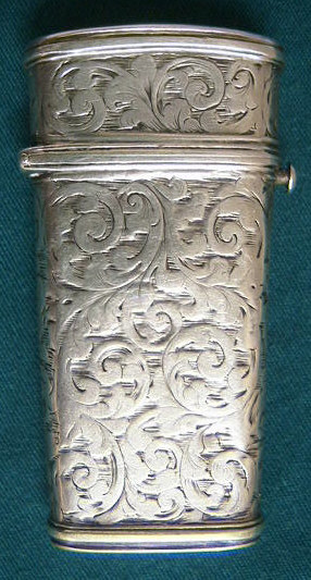 Beautiful silver lancet case  fully hallmarked for Birmingham 1841 with a young Victoria head and the maker's mark: J.W. for Joseph Wilmore. The top of the lid has a cartouche, which is engraved  'H.C.M. Stead'.