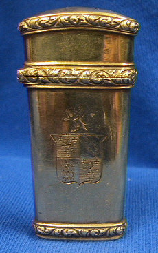 Beautiful gold plated sterling silver lancet case.  The case is marked with a wonderful shield with Lion passants on one side and the initials RCK on the opposite panel.  The 4 toroise shell lancets are marked with either Stodart or a crown and star.  Research is still in process on the family crest.