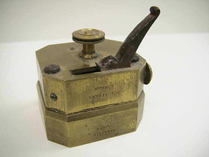 Brass 12 blade scarificator marked Miiliken patent, 301 Strand London.  This dates the piece to around 1822 in the firm run by John Milliken.